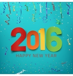 Happy New Year 2016 Colorful paper type vector image