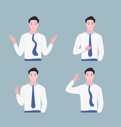 happy young man shows gestures set vector image