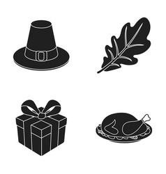 Hat of a pilgrim oak leaf gift in a box fried vector