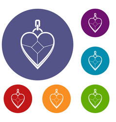 Heart shaped pendant icons set vector