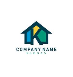 Home letter k design vector