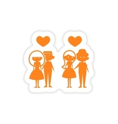 Icon sticker realistic design on paper couples vector