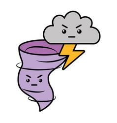 Kawaii twister angry cloud and thunderbolt cartoon vector