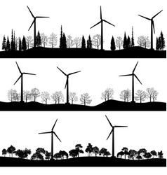 landscapes with trees and wind turbines vector image
