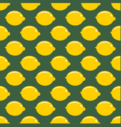 lemon whole fruit seamless art on green pattern vector image