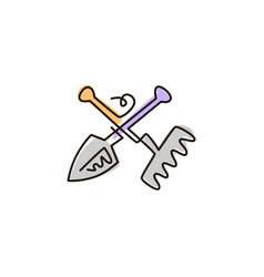 line icon rake and shovel garden tools vector image