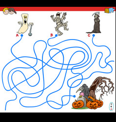 Lines maze game with spooky halloween characters vector
