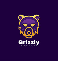 logo grizzly gradient line art style vector image