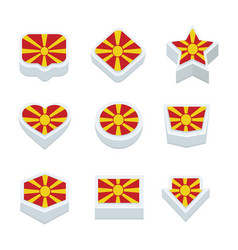 Macedonia flags icons and button set nine styles vector