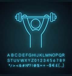 Man training with barbell neon light icon vector
