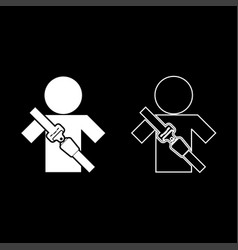 Man with forklift seat belt stick figure car vector