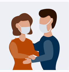 man with woman wearing protective masks together vector image
