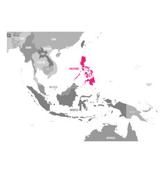 Map of philippines pink highlighted vector
