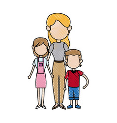 Mother together with her childrens vector