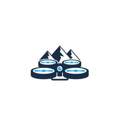 mountain drone logo icon design vector image
