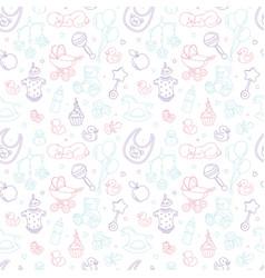 newborn baby shower nursery seamless pattern thin vector image