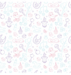 Newborn bashower nursery seamless pattern thin vector