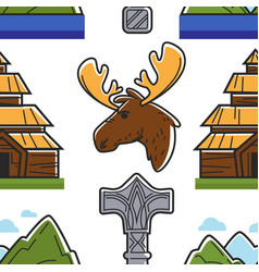 norway symbols building animal landscape and vector image