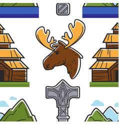 Norway symbols building animal landscape vector