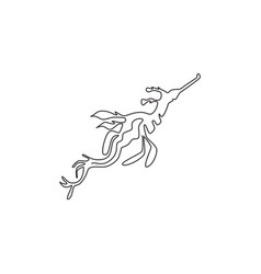 one single line drawing beautiful leafy vector image