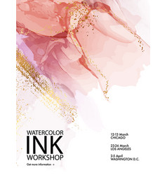pink marble paint with gold abstract liquid vector image