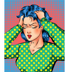 pop art beautiful woman getting headache vector image