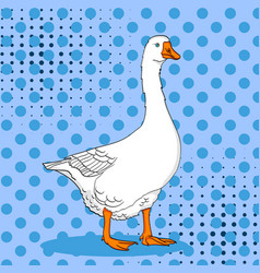 pop art duck goose bird on a color blue vector image