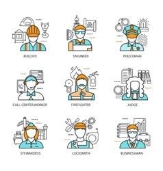 Professions Avatars Line Concept vector