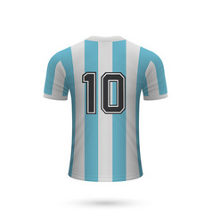 realistic soccer shirt argentina with number 10 vector image