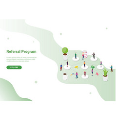 Referral affiliate partnership program with team vector