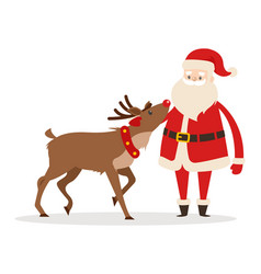 Reindeer and santa strokings his pet head isolated vector