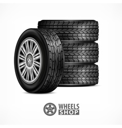 Rubber wheels on white vector image