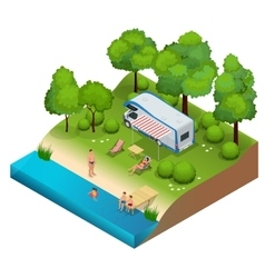 RV camper in camping family vacation travel vector image