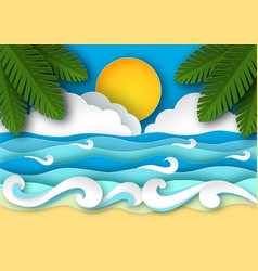 Sea waves and beach in paper art style vector
