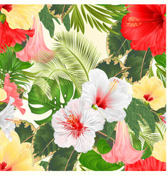 seamless texture various hibiscus and brugmansia vector image