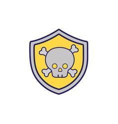 Security shield with dangerous skull bones inside vector