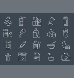 set drugs related line icons vector image