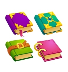 Set of cartoon different color books vector