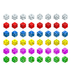 Set of isometric dice combination white red vector