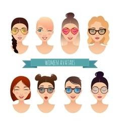 Set of women avatars vector image
