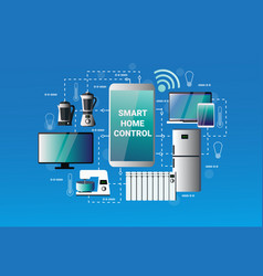 Smart home control system smartphone application vector
