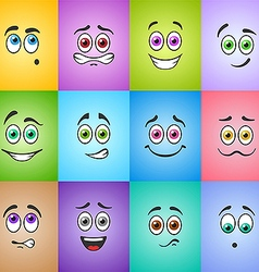 Smiles with colored eyes on colored background vector