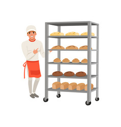Smiling baker character standing near bread rack vector