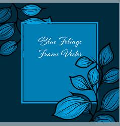 square blue foliage frame concept vector image