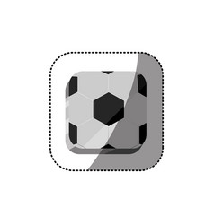 Sticker color square 3d button with soccer shape vector