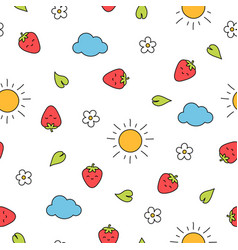 summer strawberry seamless pattern with blossoms vector image