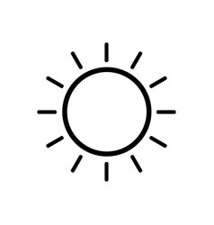 sun line icon on white background vector image