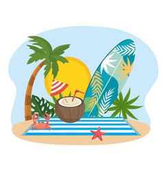 sun with palm tree and surfboard with leaves vector image