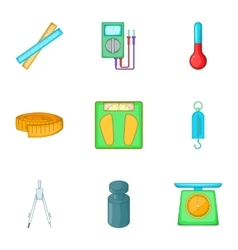 Tools for measurement icons set cartoon style vector