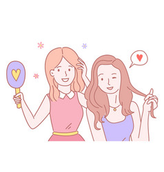 two smiling girls stand together group girls vector image